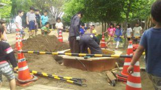 保育園の足洗い場設置
